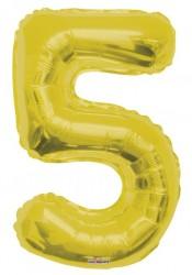 - Folyo Balon 5 Rakamı Gold//Altın Renk