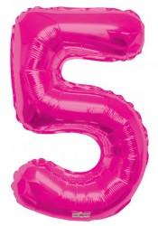 - Folyo Balon 5 Rakamı Pembe 100 cm
