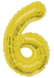 - Folyo Balon 6 Rakamı Altın Renk 40 cm