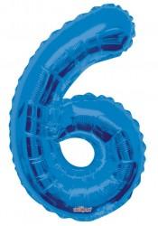 - Folyo Balon 6 Rakamı Mavi 100 cm