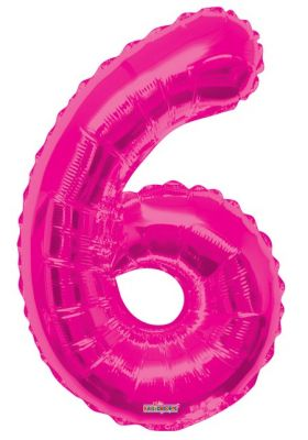 - Folyo Balon 6 Rakamı Pembe