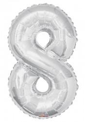 Parti Dünyası - Folyo Balon 8 Rakamı Gümüş