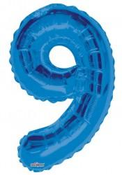 - Folyo Balon 9 Rakamı Mavi 100 cm