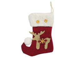 Parti Dünyası - Geyikli Noel Çorabı Bordo Renk 12 x 16 cm