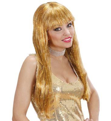 Gösterişli Parıldayan Altın Renk Uzun Peruk