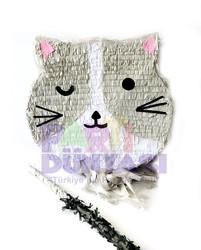 Parti - Gri Kedi Şekilli Pinyata ve Sopası