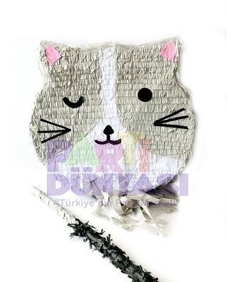 Gri Kedi Şekilli Pinyata ve Sopası