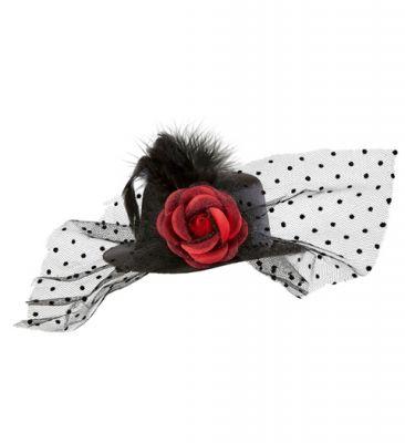 Mini Siyah Şık Şapka Tül, Tüy ve Güllü