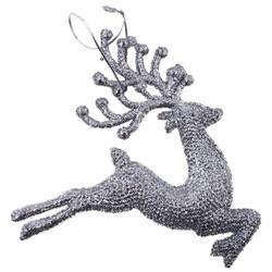 Parti Dünyası - Gümüş Geyik Ağaç Süsü 18 x 20 cm 2 ADET