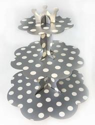 Parti Dünyası - Gümüş Beyaz Puantiyeli Cupcake Standı 32 x 35 cm