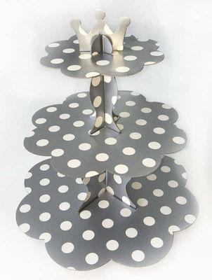 Gümüş Beyaz Puantiyeli Cupcake Standı