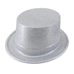 Parti Dünyası - Gümüş Gri Simli Parlak Fötr Şapka
