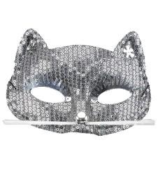 Parti - Gümüş Payetli Kedi Maskesi