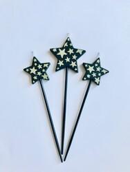Parti Dünyası - Gümüş Sim Siyah Yıldız Mum 3 Adet 15 cm