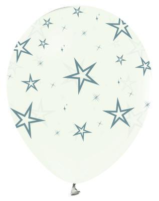 Gumus Yildizlar Baskili Seffaf 10 Lu Latex Balon Partidunyasi Com