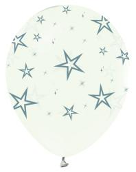 Parti Dünyası - Gümüş Yıldızlar Baskılı Şeffaf 10 Lu Latex Balon