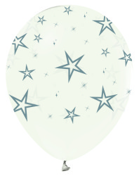 - Gümüş Yıldızlar Baskılı Şeffaf 100 Lü Latex Balon