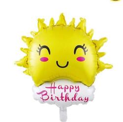 Parti Dünyası - Güneş ve Happy Birthday Bulut Folyo Balon 85 cm