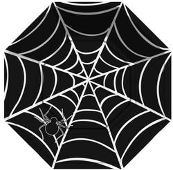 Parti Dünyası - Halloween Örümcek Ağı Siyah Tabak 8 Adet