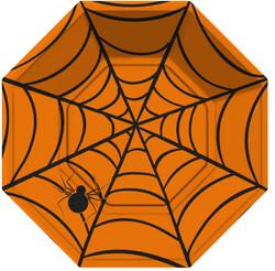 Parti - Halloween Örümcek Ağı Turuncu Tabak 8 Adet