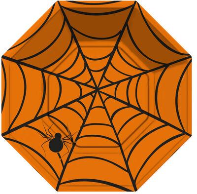 Halloween Örümcek Ağı Turuncu Tabak 8 Adet