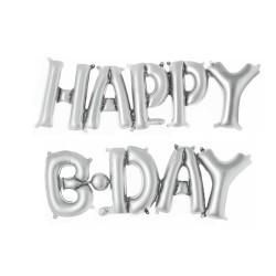Parti Dünyası - Happy B.Day Harf Folyo Balon Gümüş Rengi