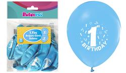 Parti Dünyası - Happy Birthday 1 YAŞ Baskılı Açık Mavi Balon 16 lı