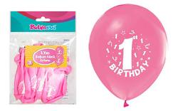 Parti Dünyası - Happy Birthday 1 Yaş Baskılı Pembe Balon 16 lı