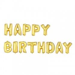 Parti Dünyası - Happy Birthday Altın Harf Folyo Balon