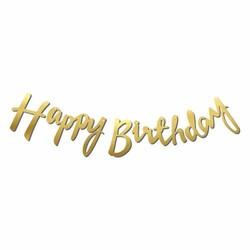 Parti Dünyası - Happy Birthday Altın Renk Metalik Harf Afiş