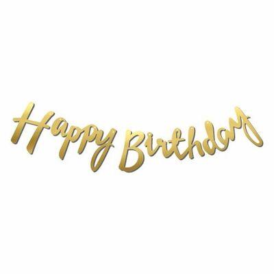 Happy Birthday Altın Renk Metalik Harf Afiş