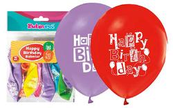 Parti Dünyası - Happy Birthday Baskılı Karışık Renk Latex Balon 16 Adet