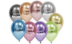 Parti Dünyası - Happy Birthday Baskılı Krom Latex Balon 10 Adet