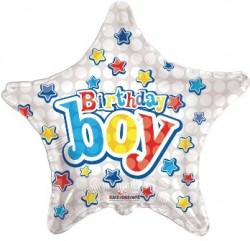 Parti Dünyası - Happy Birthday Boy Yıldızlı Folyo Balon