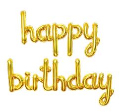 Parti - Happy Birthday El Yazısı Altın Renk Folyo Balon