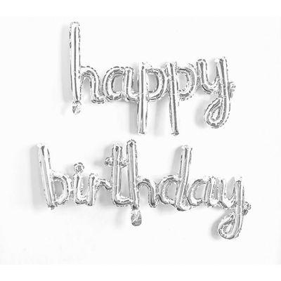 Happy Birthday El Yazısı Gümüş Renk Folyo Balon