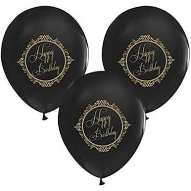 - Happy Birthday Gold Baskı Siyah 100 Lü Latex Balon