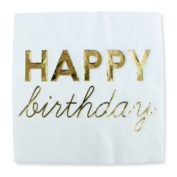 Parti Dünyası - Happy Birthday Gold Baskılı Varak Peçete 16 Lı