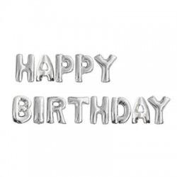 Parti Dünyası - Happy Birthday Gümüş Harf Folyo Balon