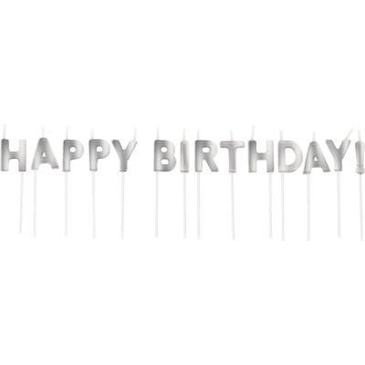 Parti - Happy Birthday Gümüş Renk Harf Mum