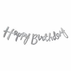 Parti - Happy Birthday Gümüş Renk Metalik Harf Afiş
