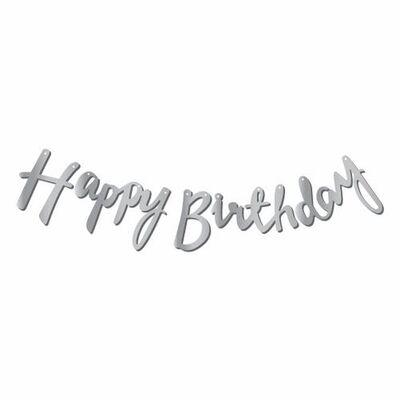 Happy Birthday Gümüş Renk Metalik Harf Afiş