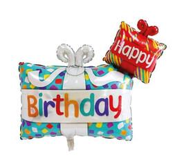 Parti Dünyası - Happy Birthday Hediye Paketi Folyo Balon 100 cm