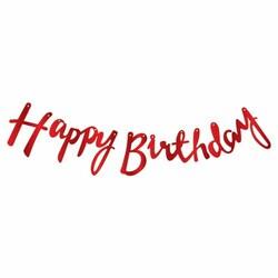 Parti - Happy Birthday Kırmızı Metalik Harf Afiş