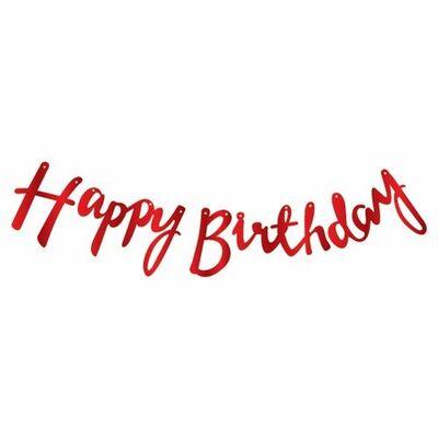 Happy Birthday Kırmızı Metalik Harf Afiş