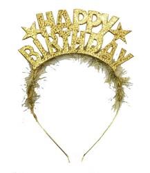Parti Dünyası - Happy Birthday Metal Altın Renk Taç