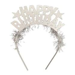 Parti Dünyası - Happy Birthday Metal Gümüş Renk Taç