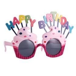Parti Dünyası - Happy Birthday Pastalı Pembe Parti Gözlüğü