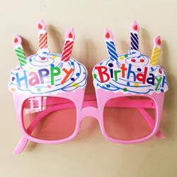 Parti Dünyası - Happy Birthday Pembe Mumlu Parti Gözlüğü