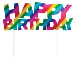 Parti Dünyası - Happy Birthday Renkli Folyo Çubuklu Pasta Yazısı